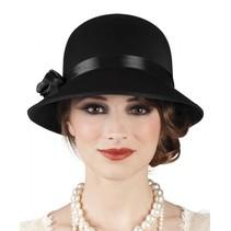 hoed Charleston dames zwart one size