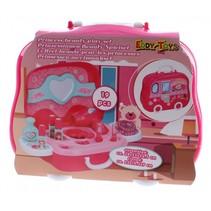 beautycase Prinsessen meisjes 25 cm roze 19-delig