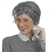 pruik Oma dames grijs
