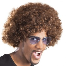 pruik Afro unisex bruin