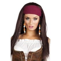 pruik piraat Trinity met bandana dames bruin