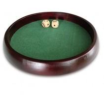 Pokerpiste met dobbelstenen 34 cm bruin