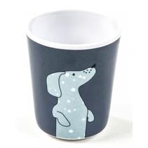 beker hond 8 x 6,5 cm blauw