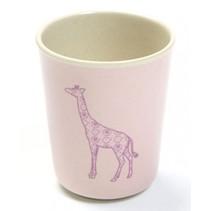 beker giraf 8 x 6,5 cm roze