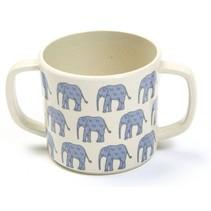 beker met handgrepen olifant 7 x 6,5 cm blauw