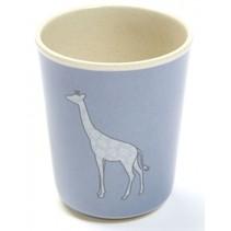 beker giraf 8 x 6,5 cm blauw