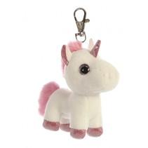 sleutelhanger Sparkle Tales eenhoorn wit/roze 13 cm