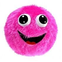 opblaasbaar fuzzy smiley gezicht 23 cm roze