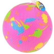 bal met verfspatten 21 cm roze