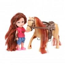tienerpop met paard 11 cm 3-delig bruin
