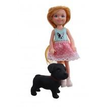 pop met hond roze rokje 14 cm