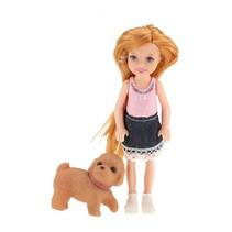 pop met hond spijkerrokje 14 cm