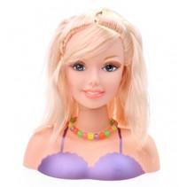 kaphoofd paars met blond haar 20 cm 10-delig