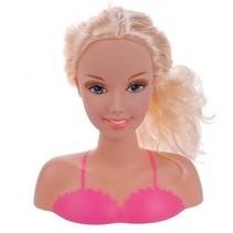 kaphoofd roze met blond haar 20 cm 10-delig