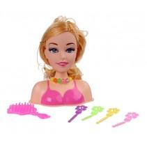 kaphoofd roze met blond haar 15 cm 7-delig