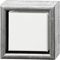 canvas met lijst 14 x 14 cm zilver