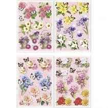 3D vellen bloemen/vlinders 21x30 cm 4 stuks