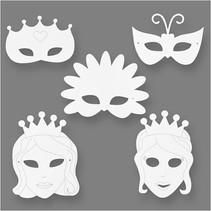 sprookjesmaskers wit h: 13,5-25 cm b: 17-25 cm