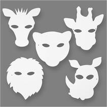 jungledierenmaskers wit h: 22,5-25 cm b: 20,5-22,5 cm