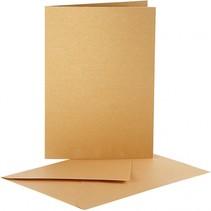 kaarten met enveloppen 10,5 x 15 cm 10 sets parelmoer goud