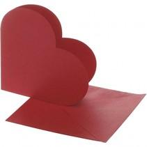 hartvormige kaarten met envelop 12,5 x 12,5 cm 10 sets rood