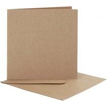 kaarten en enveloppen 12,5 x 12,5 cm 10 sets naturel