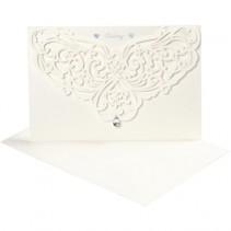 trouwkaarten met envelop set 5-delig 12 x 17,7 cm wit