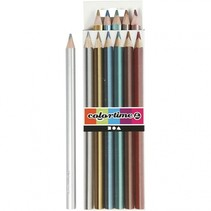 kleurpotloden 4 mm vulling metallic kleuren 6 stuks
