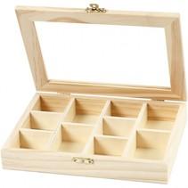 houten doos met glazen deksel 15,5 x 20,5 x 3,5 cm