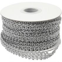 decoratief gevlochten lint zilver 10 meter