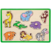 vormenpuzzel safaridieren 8 stukjes groen
