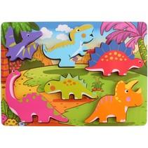 vormenpuzzel dinosaurussen hout 6 stukjes
