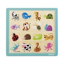 Houten dierenpuzzel 16 stukjes