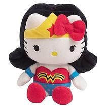 Hello Kitty Knuffel Wonder woman meisjes zwart/wit 17 cm