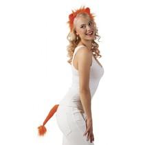 leeuwenset haarband en staart oranje dames