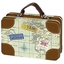 Reizen mini koffer 10,5 x 7,3 cm bruin