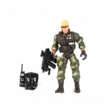speelset soldaat met accessoire walkie talkie 8-delig 11 cm