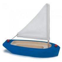 zeilboot blauw/wit hout 22 x 9 x 21 cm