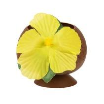 drinkbeker kokosnoot met gele bloem