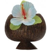 drinkbeker kokosnoot met blauwe bloem
