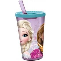 drinkbeker met rietje Frozen paars/blauw 450 ml