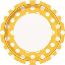 feestborden 23 cm 8 stuks karton geel/wit