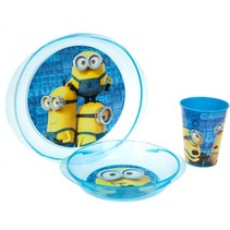Lunchset Minions magnetron blauw 3-delig
