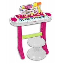 Keyboard Staand met Microfoon en kruk roze/groen