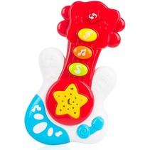 elektrische speelgoedgitaar junior 18 cm rood/wit