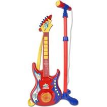 Toyband rockgitaar met microfoon rood/blauw