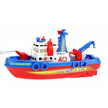 waterspuitende sleepboot 24 cm  rood/blauw