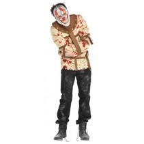 verkleedkostuum Psycho Clown heren bruin mt M/L