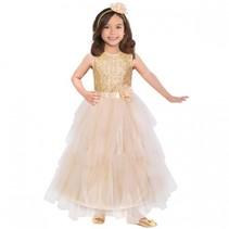 verkleedkostuum prinses in jurk meisjes goud 3-5 jaar