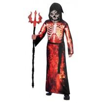 kostuum Fire Reaper junior zwart/rood 8-10 jaar 4-delig